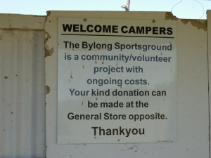Bylong free camping - we made a kind donation