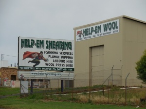 "Fun signs from today - ""Help-em Shearing - you shed'em, we shear'em"""