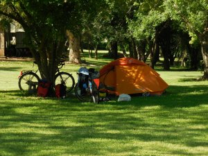 Tent site in the grass
