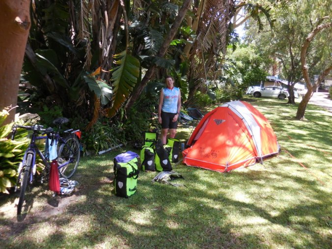 Nancy and our camp