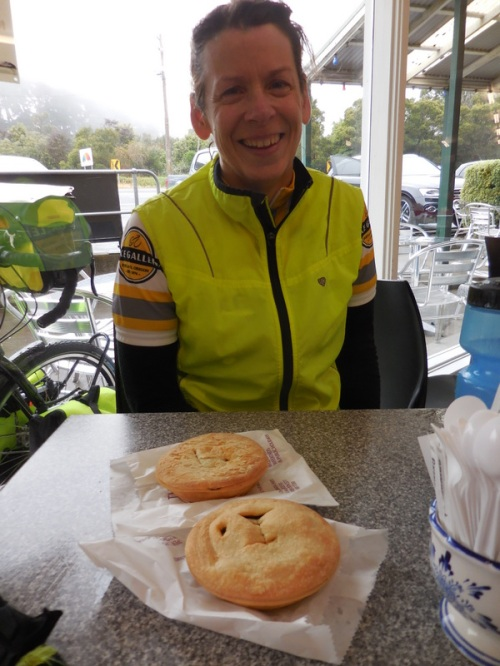 Nancy with two pies - ok, one  belonged to Dave