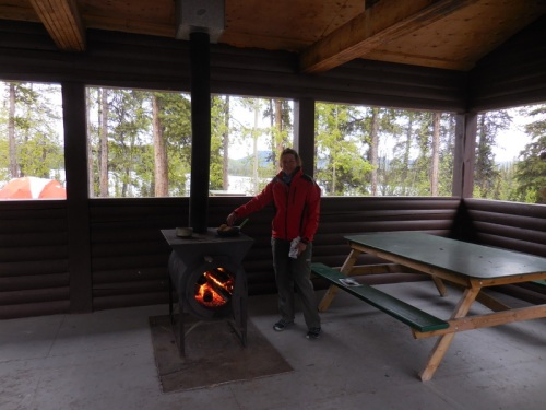 Camp kitchen with wood stove