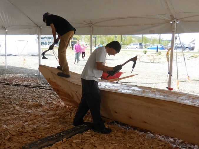 Carving dugout canoe 2