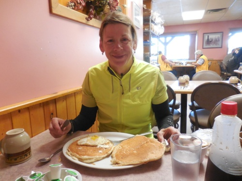 Nancy happy with her pancakes