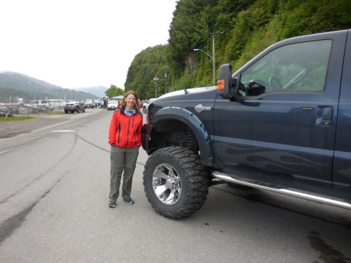 Nancy next to one of the normal trucks