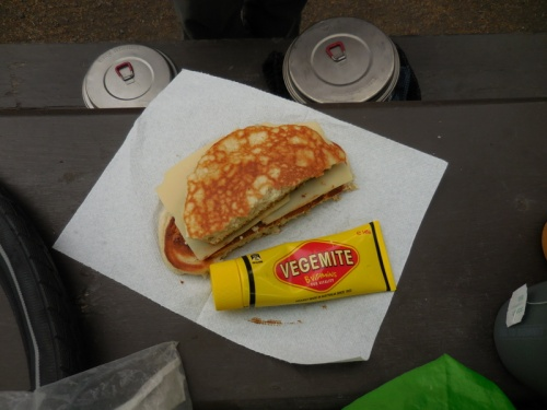 Vegemite, cheese on pancakes - great lunch