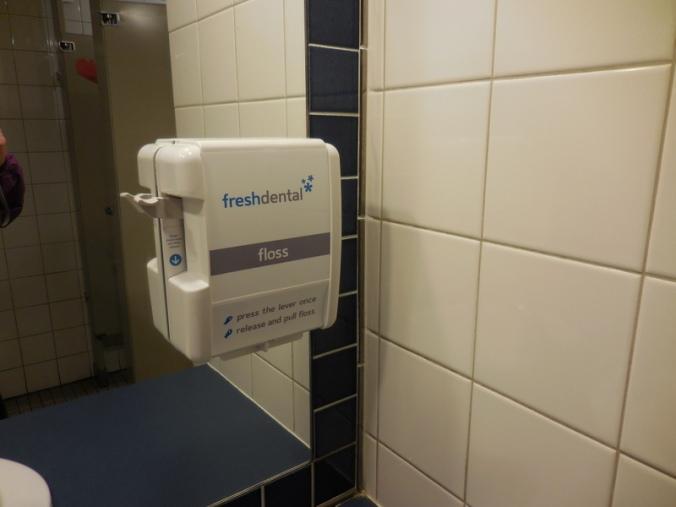 Dental floss dispenser at lunch resaurant