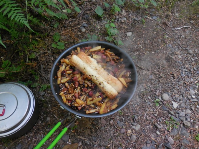 Pork, sweet potatoes, scallion and garlic stir fry