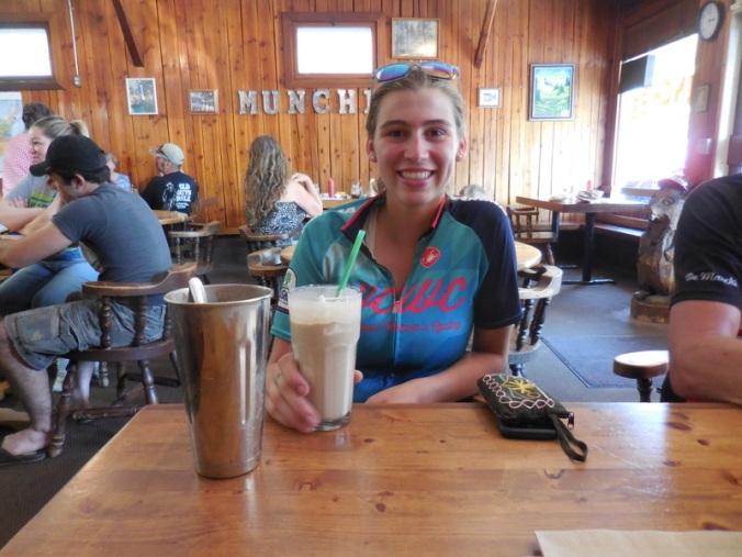 Anna is happy about her milkshake
