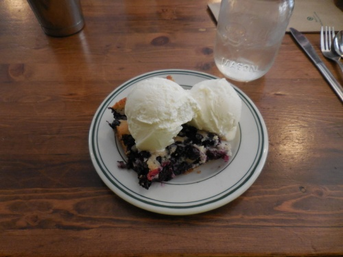 Blueberry Strawberry buckle with ice-cream