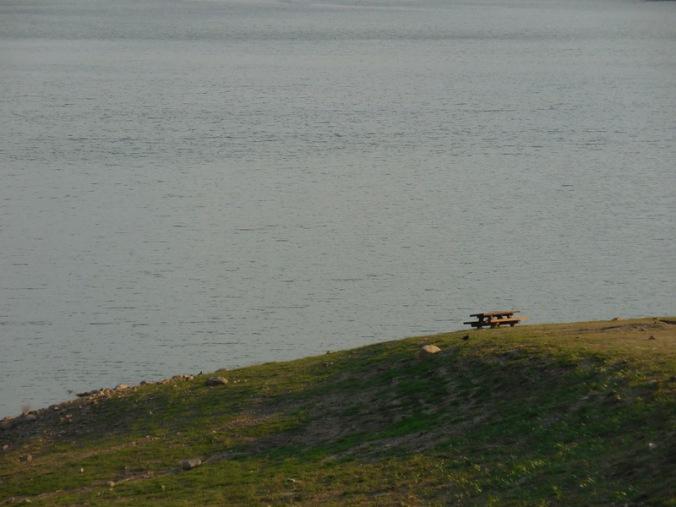 Lone campsite at Pine Flat Lake