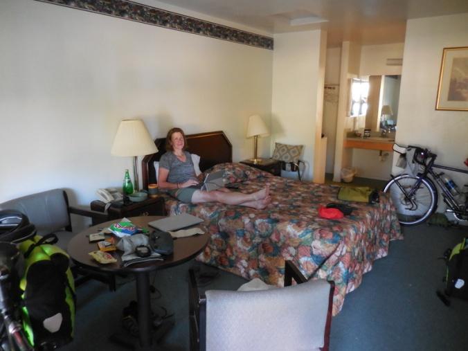 Nancy in our fancy hotel room