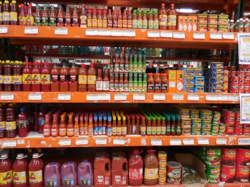 Hot sauce in market