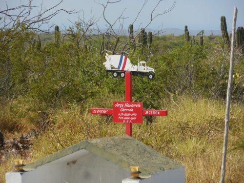Sad truck driver memorial