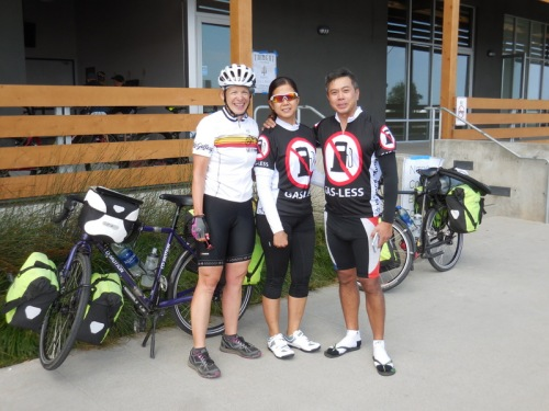 Two American-Philipino riders and Nancy