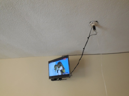 Flat screen TV and Sky - plugged into ligh socket