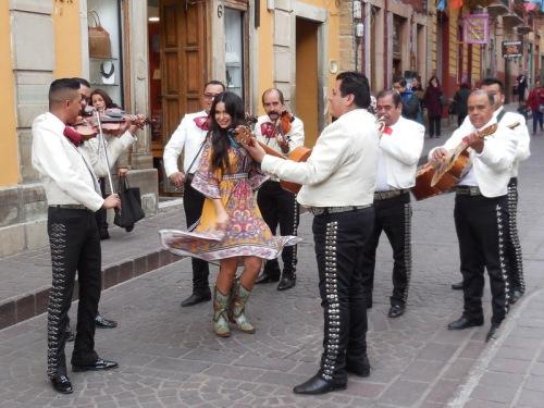 Mariachi band and fake dancer