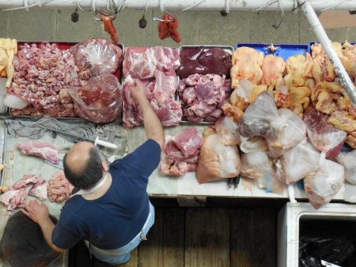 Mercado Hidalgo meat seller