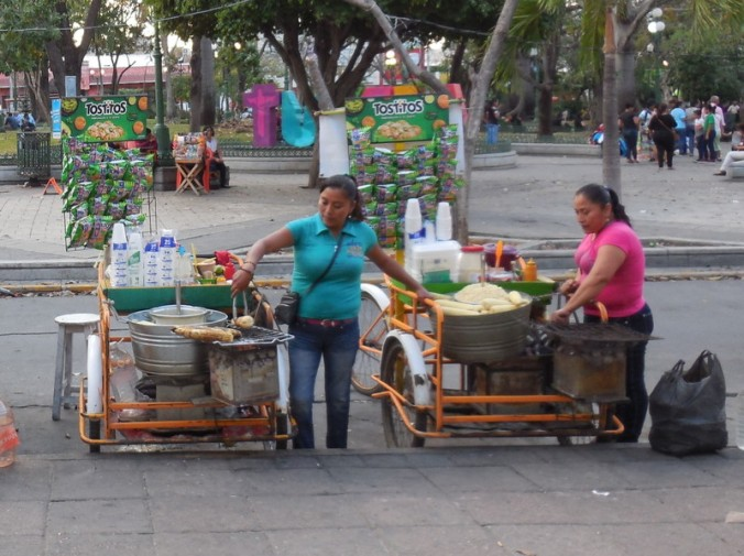 Corn sellers in the park