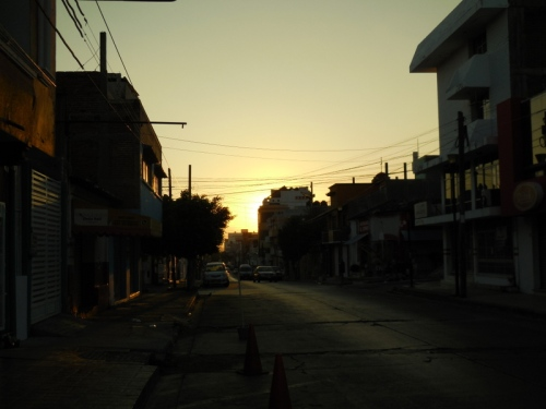 Sunrise leaving the hotel