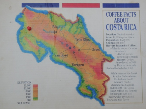 Costa Rica coffee map