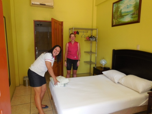 Our room and the check-in lady