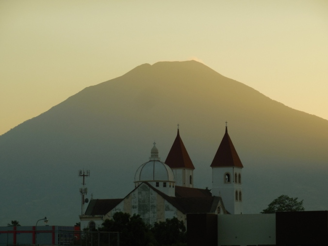 San Miguel church and volcano 1