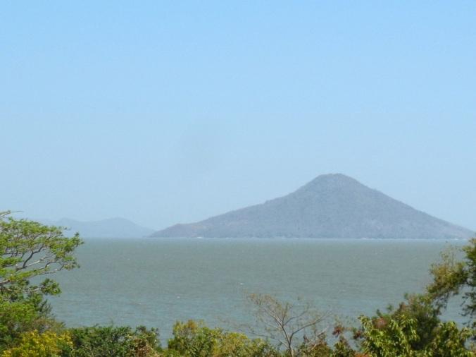 Volcano on lake