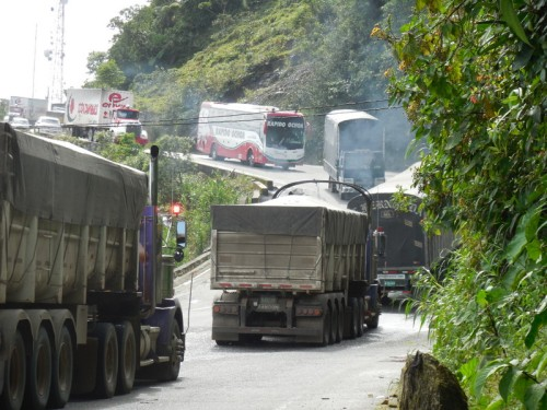 Andes road - steep with trucks