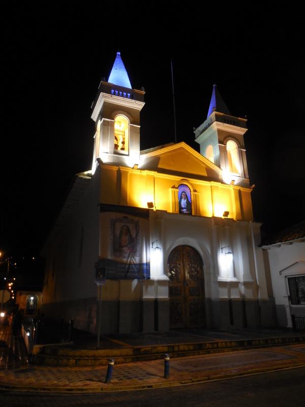 Otavalo church at night
