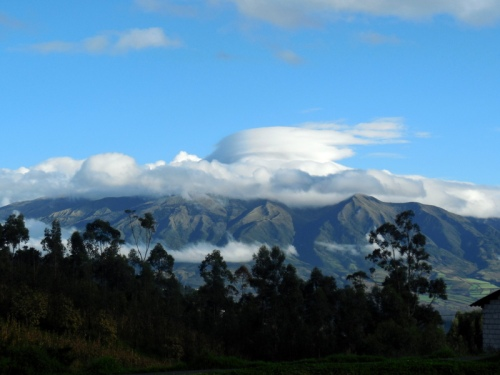Volcano above Otavalo hide in the clouds