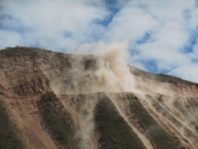 Blasting at the mine