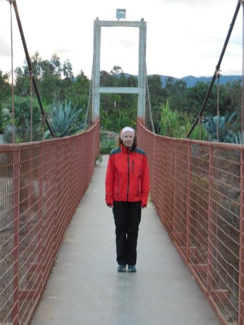 Bridge over highway walking to dinner
