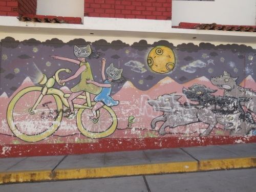 Huaraz mural reflecting our life on the road