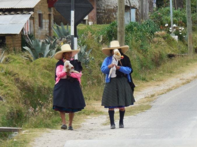 Ladies spinning yarn