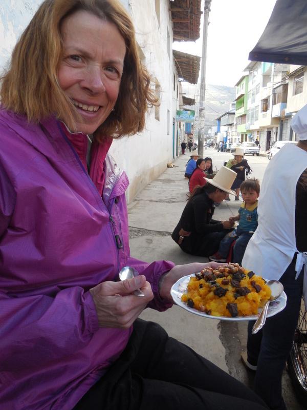 Street food - yes Nancy is eating it