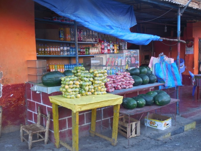 Typical roadside stand - food wrapped for dust