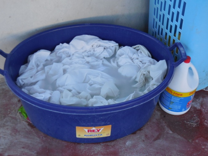 Laundry at the hotel - they bucket wash every sheet and towell