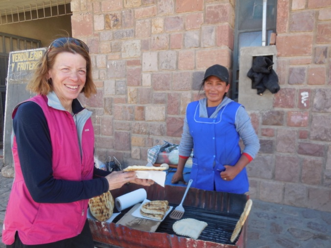 Nancy and fried bread seller