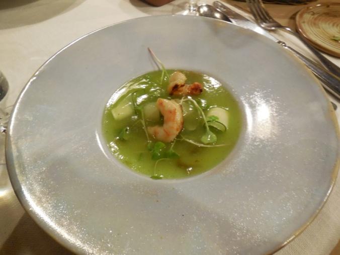 Dinner - Mellon soup with prawns