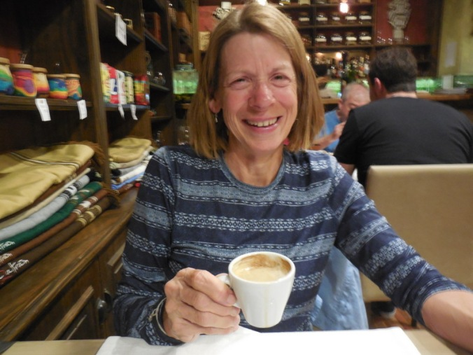 Nancy and dinner coffee