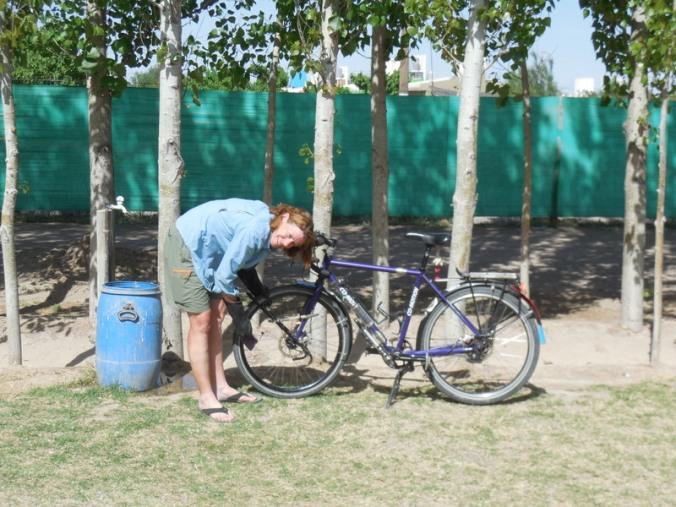 Nancy washing her bike
