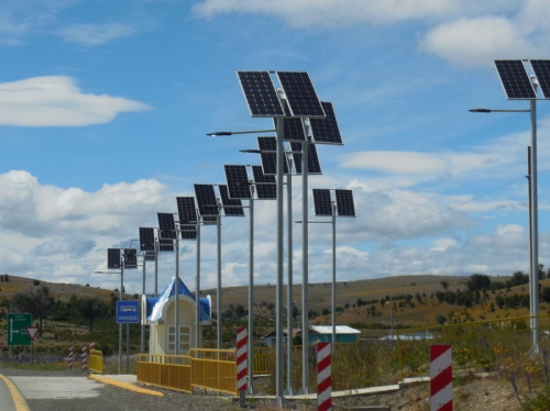 Bus stop with solar lights