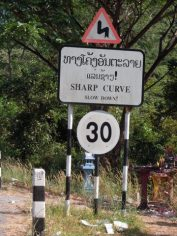 Road signs in English and Lao 2