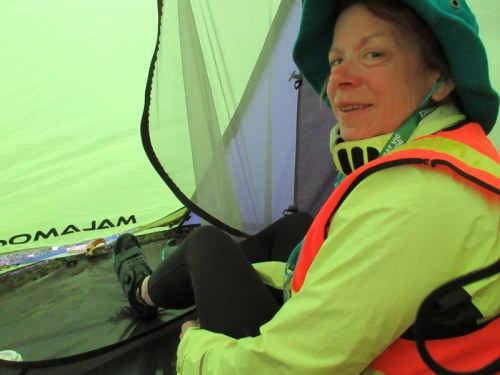 Nancy staying dry in the tent for brekkie - lucky