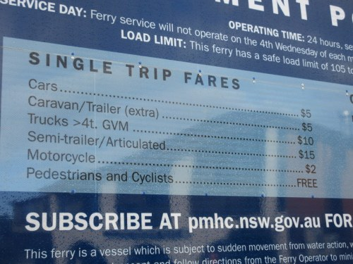 Ferry rate - bikes free!