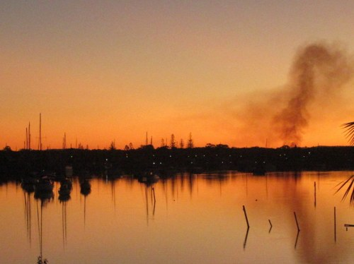 Sunset with cane fire
